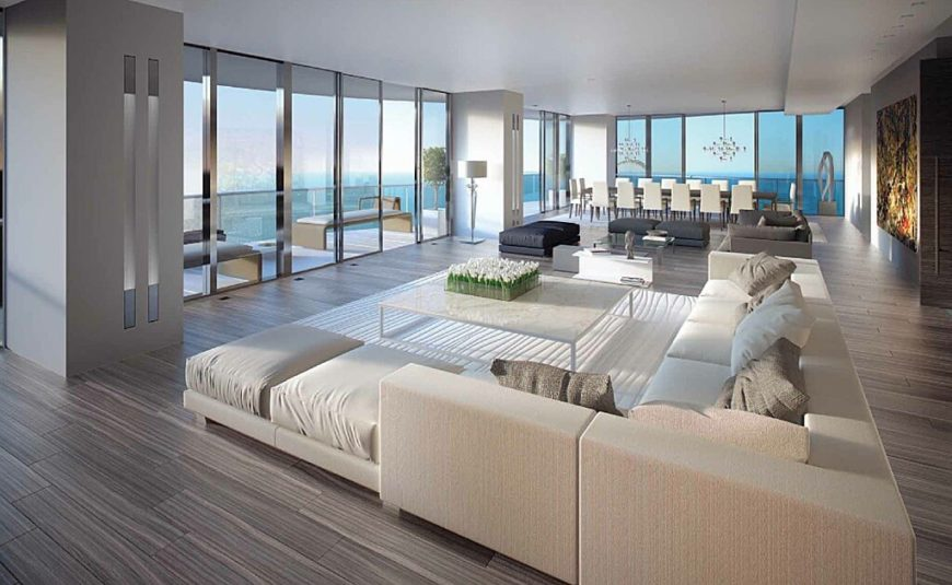 Interior rendering of 217 Dunlop Condos suite living room.