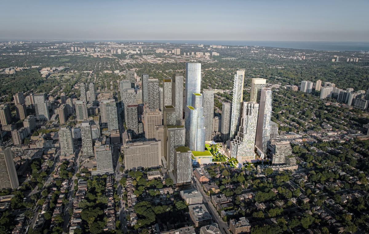 Aerial rendering of 2180 Yonge Condos in Toronto
