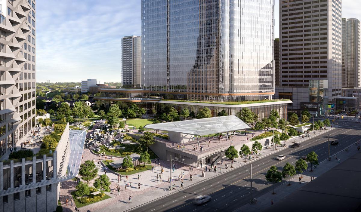 Street-view rendering of 2180 Yonge Condos in Toronto