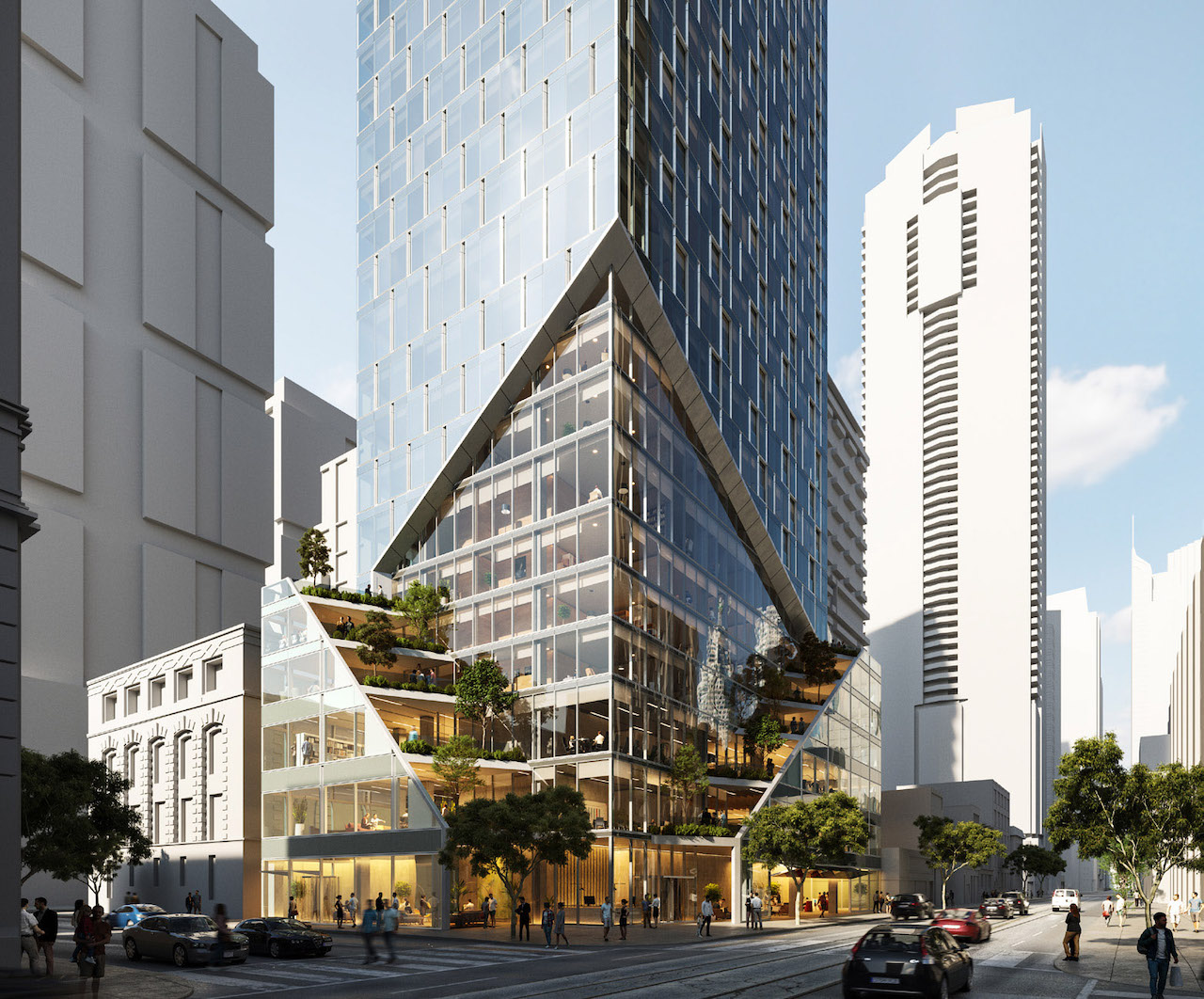 Exterior rendering of 240 Adelaide Condos podium and street view