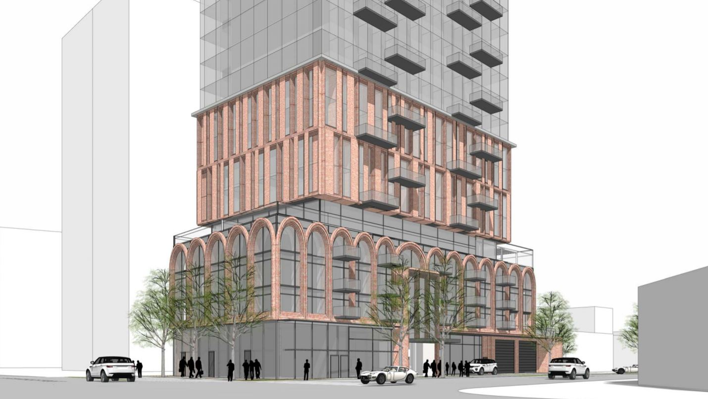 Exterior rendering of 2444 Hurontario Street Condos bottom and streetview