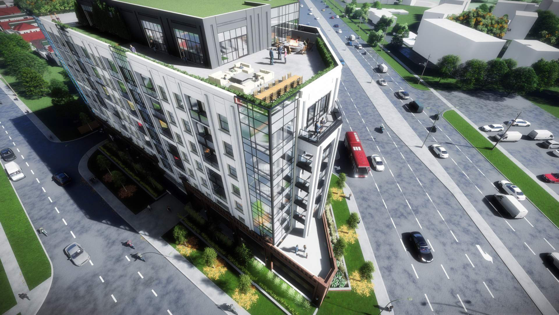 Aerial rendering of 4151 Kingston Road Condos