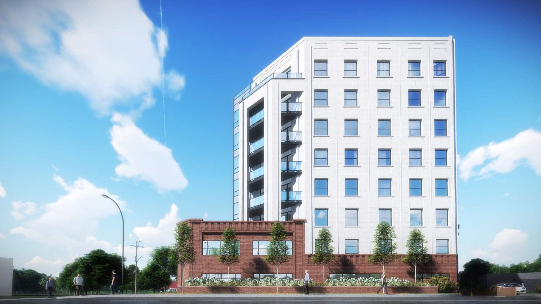 Exterior rendering of 4151 Kingston Road Condos building
