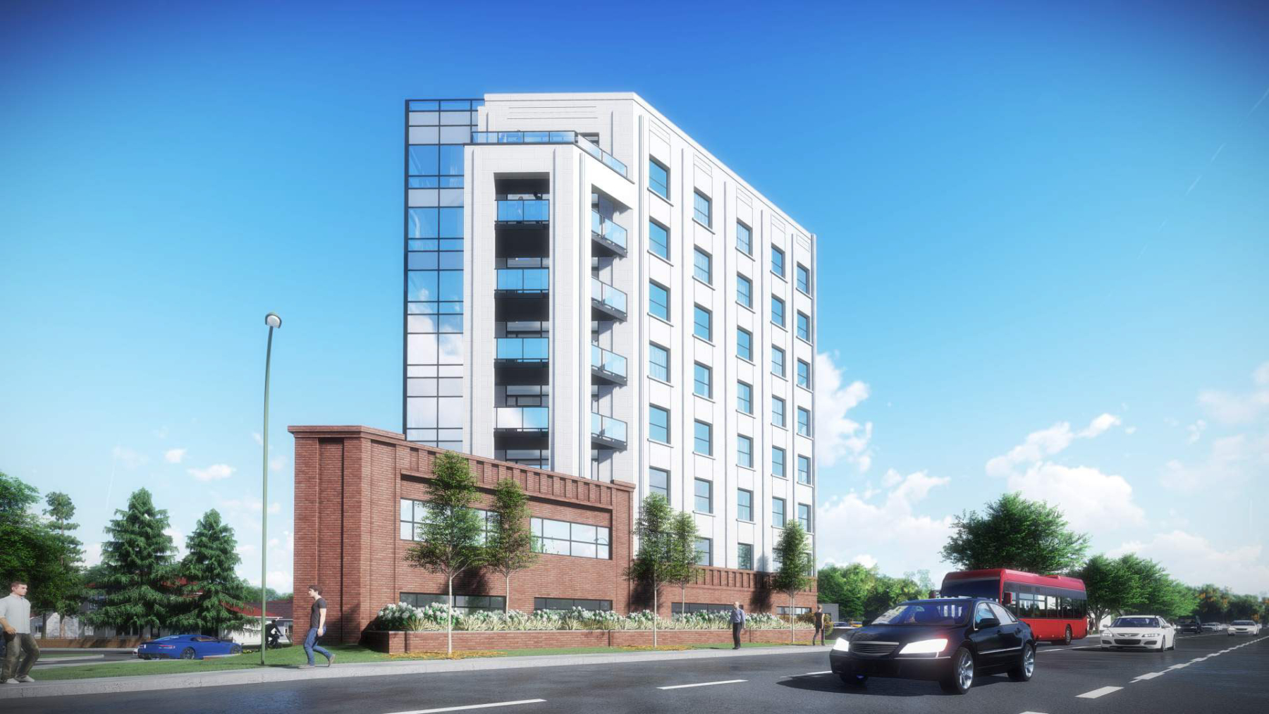 Exterior rendering of 4151 Kingston Road Condos building side