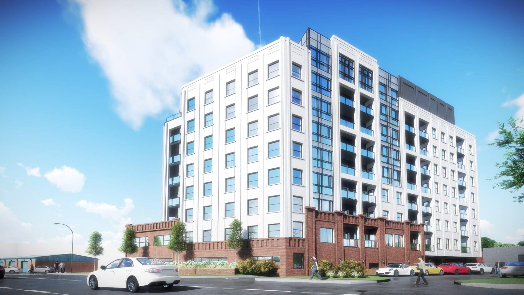Exterior rendering of 4151 Kingston Road Condos side
