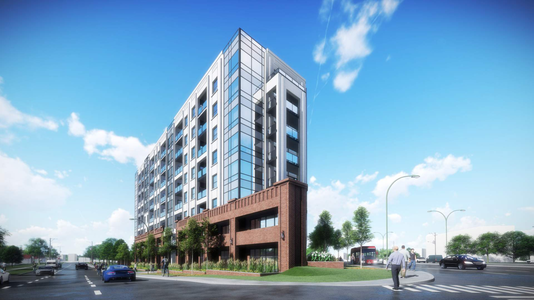 Exterior rendering of 4151 Kingston Road Condos front angled view