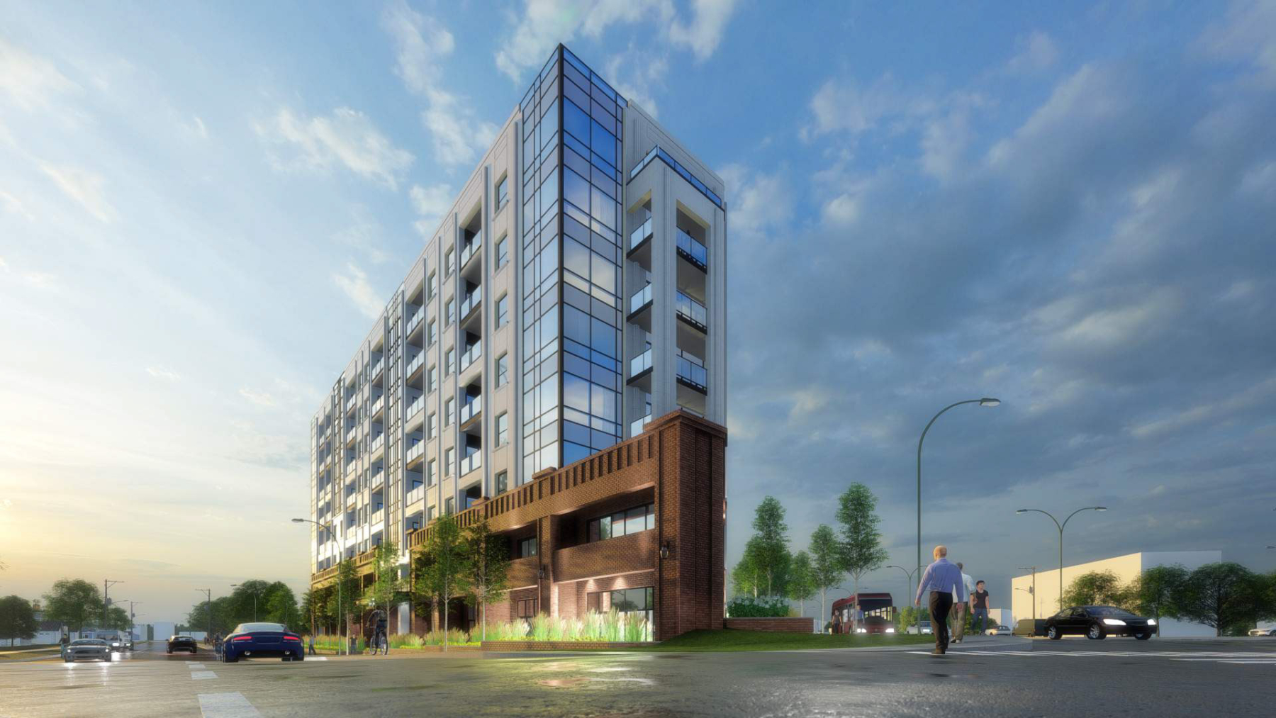 Exterior rendering of 4151 Kingston Road Condos front angled view at dusk