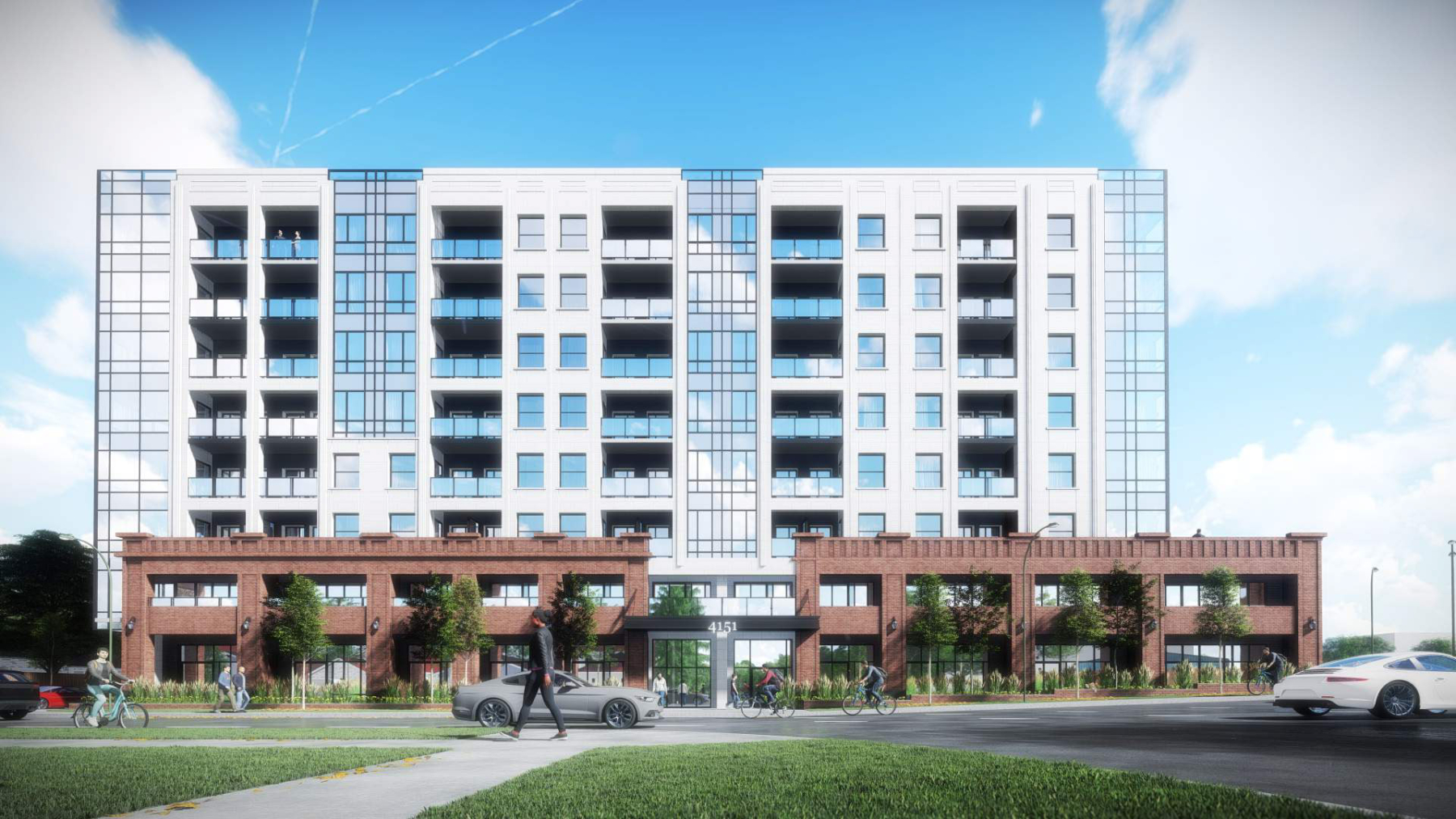Exterior rendering of 4151 Kingston Road Condos full side view