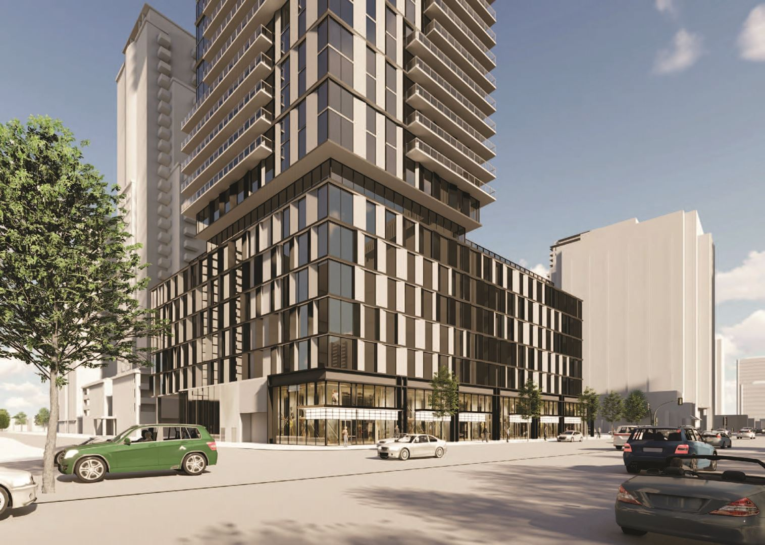 Exterior rendering of 5051 Yonge Street Condos lower area and streetview