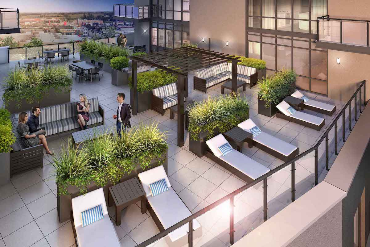 Exterior rendering of MODO Condos terrace