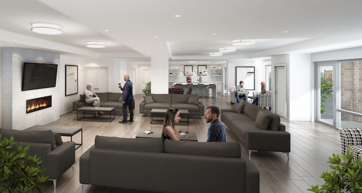 Rendering of MODO Condos party room