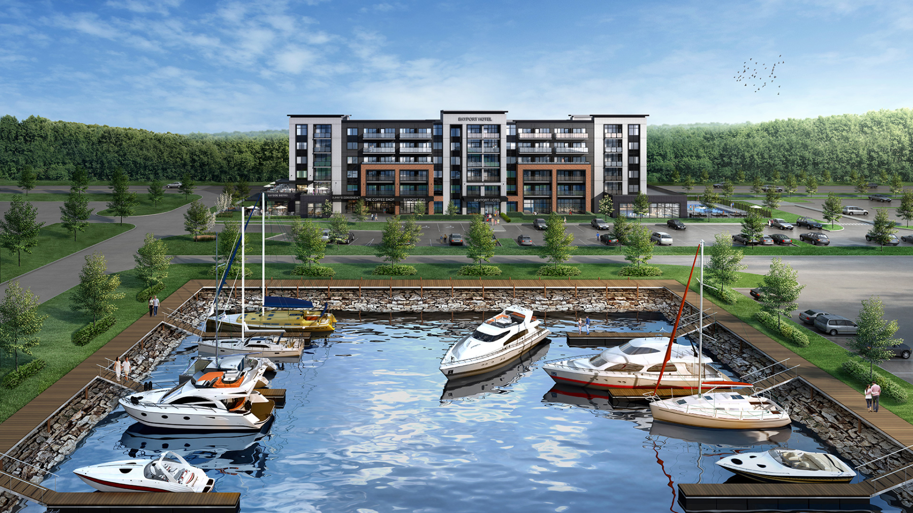 Exterior rendering of Bay Port Resort Condos in Midland