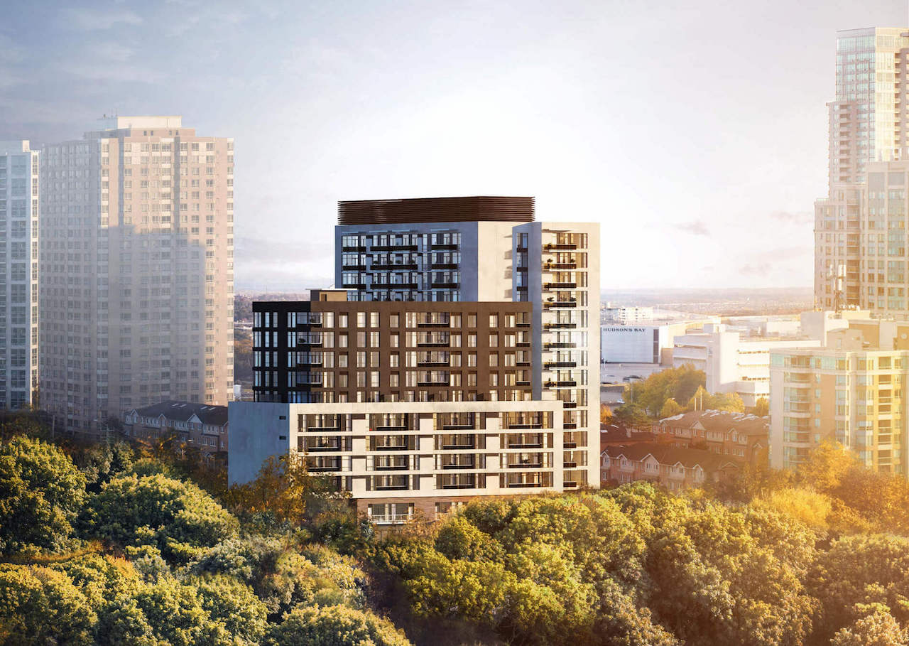 Exterior rendering of Elle Condos and surrounding area.