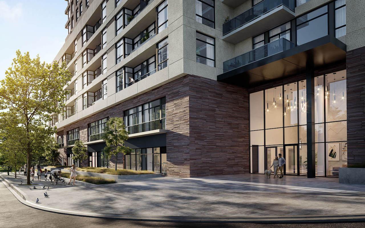Exterior rendering of Elle Condos entrance