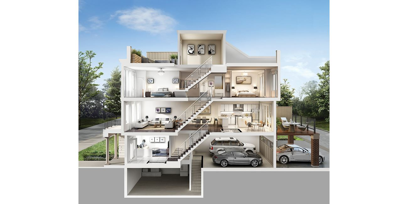 Rendering of MODO Condos and Towns dollhouse interior view