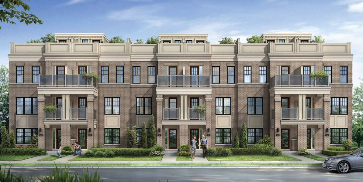Rendering of MODO Condos and Towns exterior front entrance