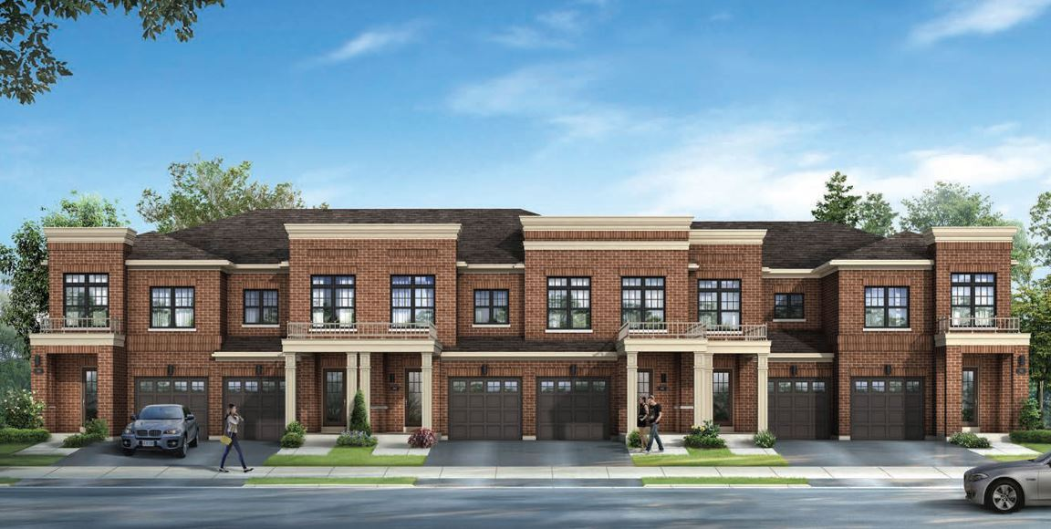Rendering of MODO townhomes with garages exteriors