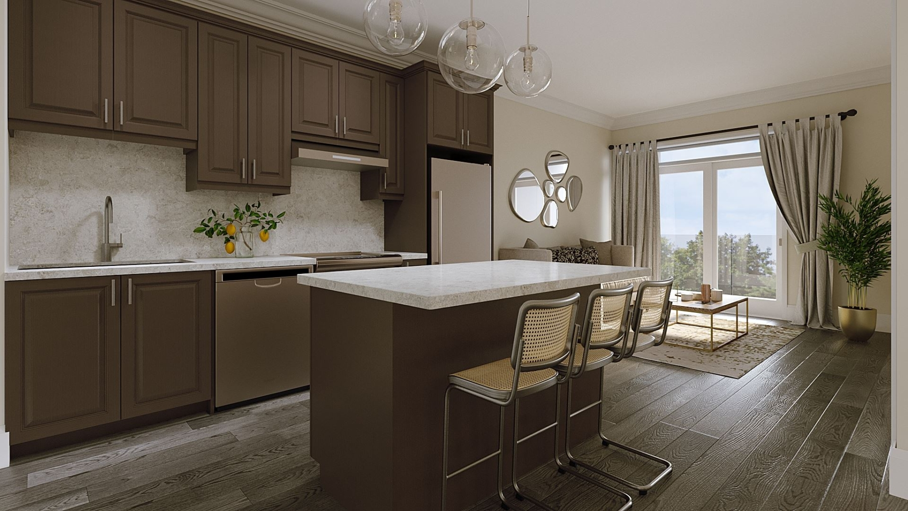 Rendering of Montebello Condos interior kitchen style dark