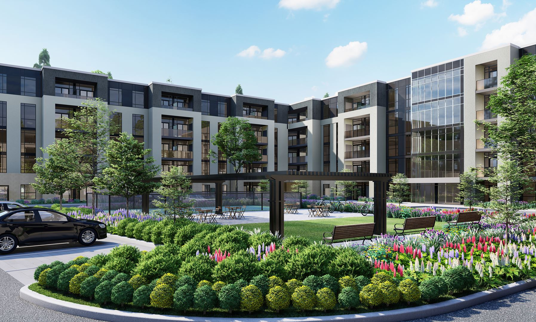 Rendering of Montebello Condos courtyard