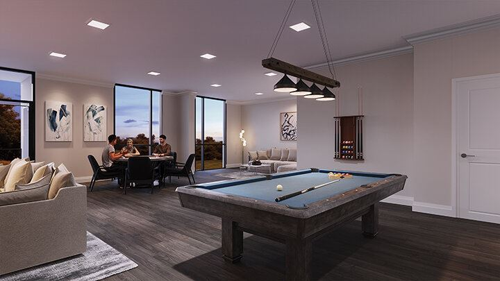 Rendering of Montebello Condos games room
