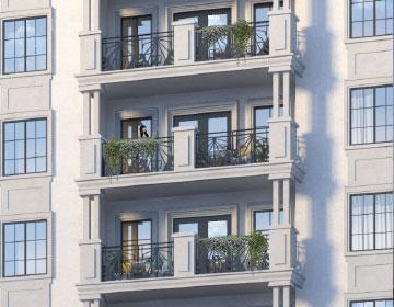 Rendering of The Waldemar Condos balcony detail