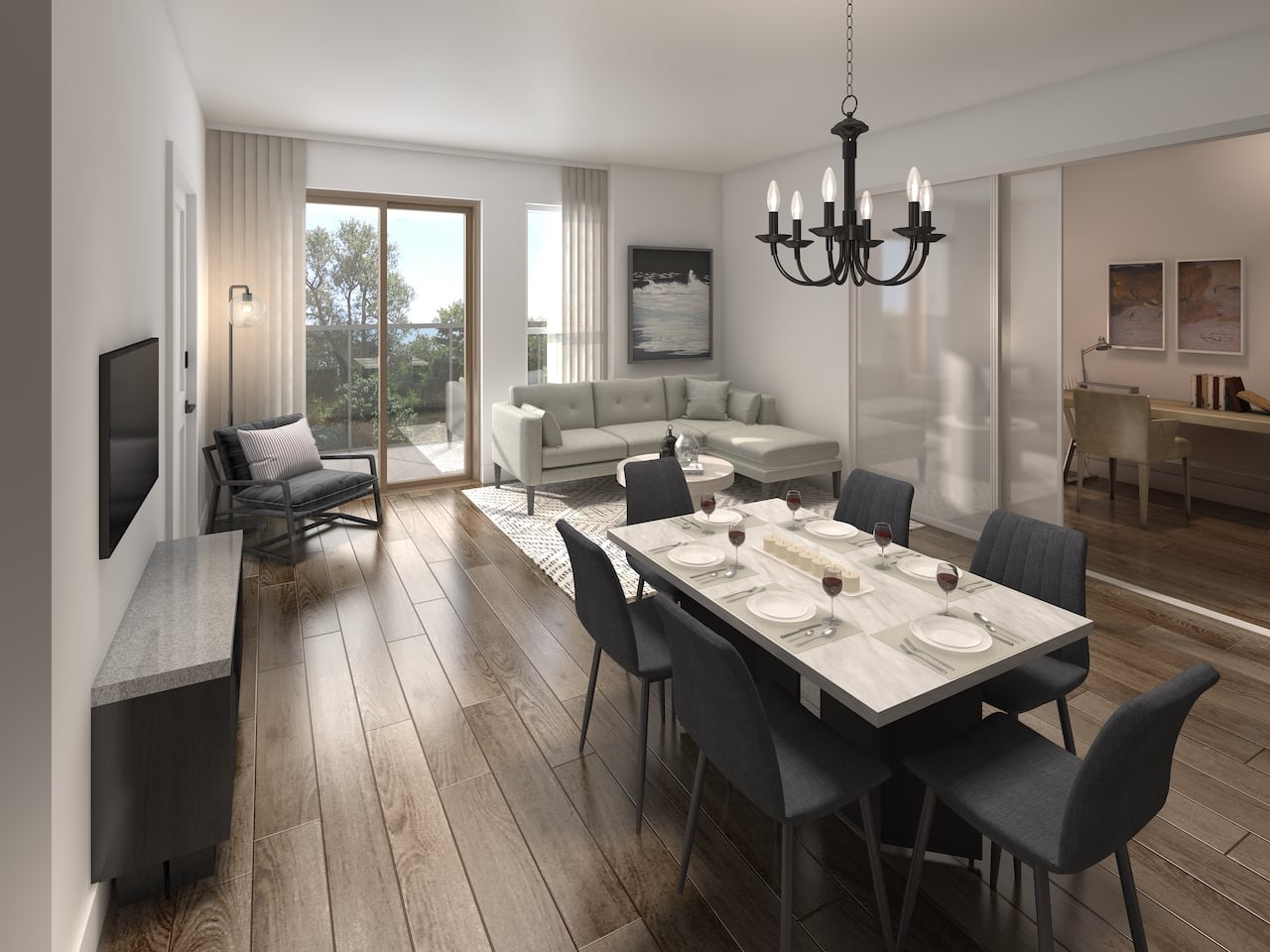 Rendering of Nuvo 2 suite dining