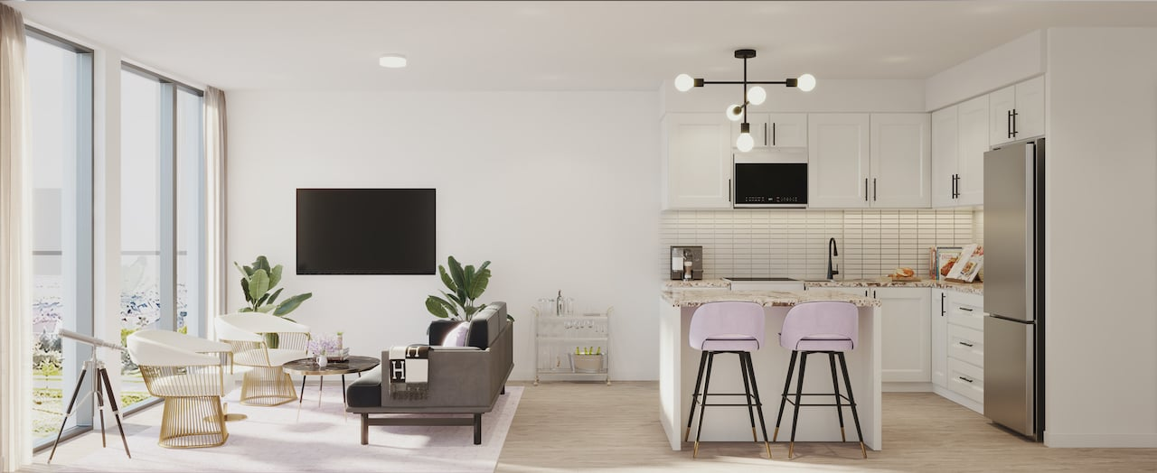 Rendering of Nuvo 2 suite kitchen