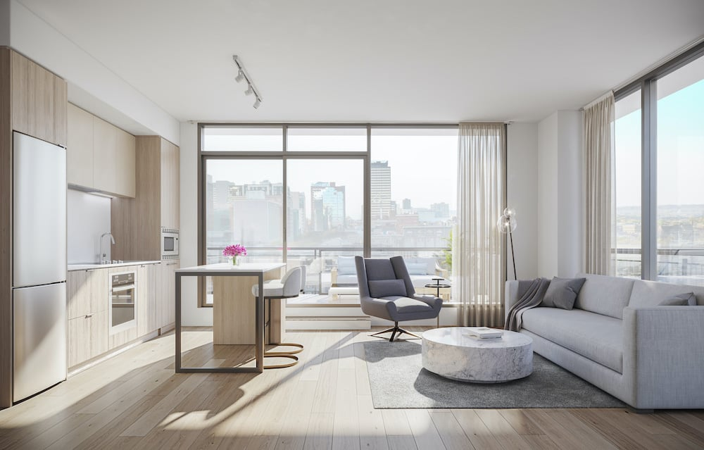 Rendering of 1 Jarvis Condos suite living and dining neige