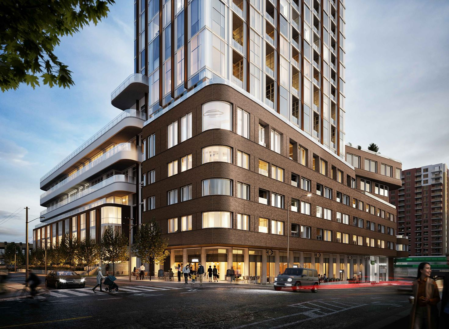 Rendering of 1319 Bloor Street West Condos exterior podium and street view in the evening