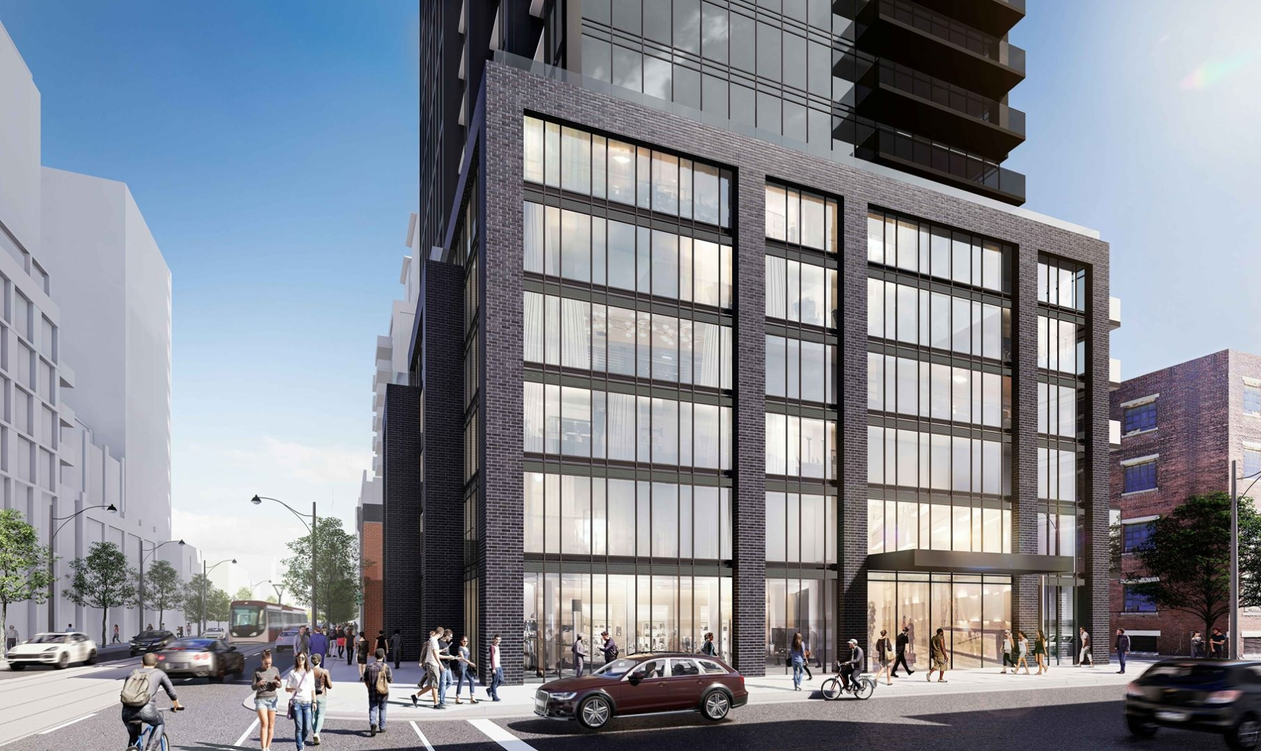 Rendering of 234 King Street East Condos exterior with street scape