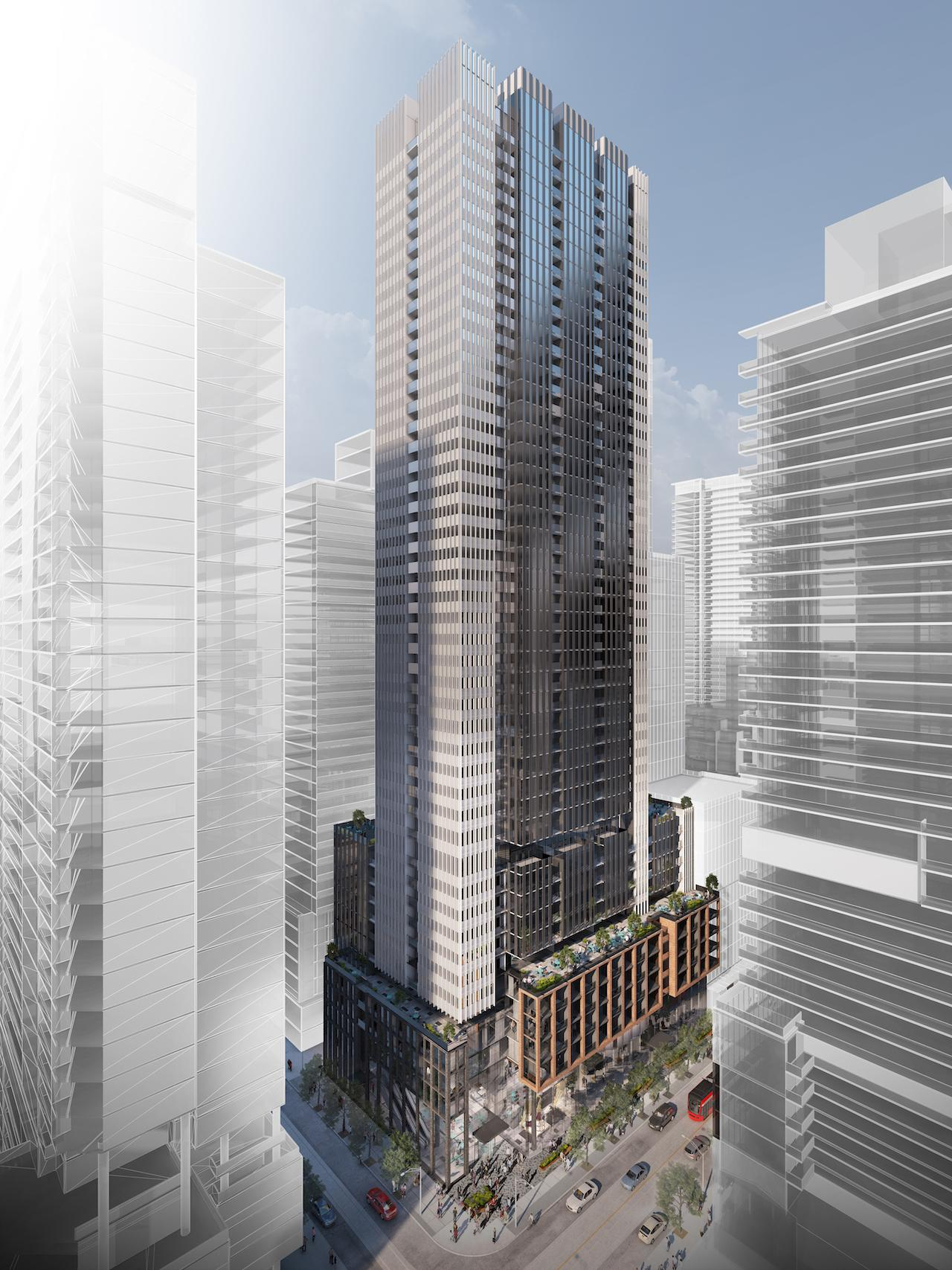 Rendering of 400 King West Condos exterior full view