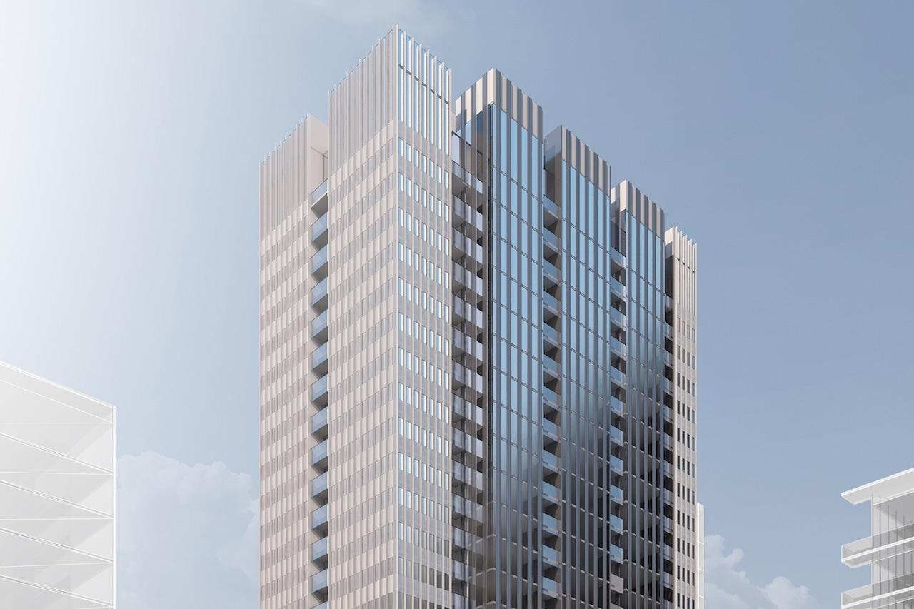 Rendering of 400 King West Condos exterior upper half
