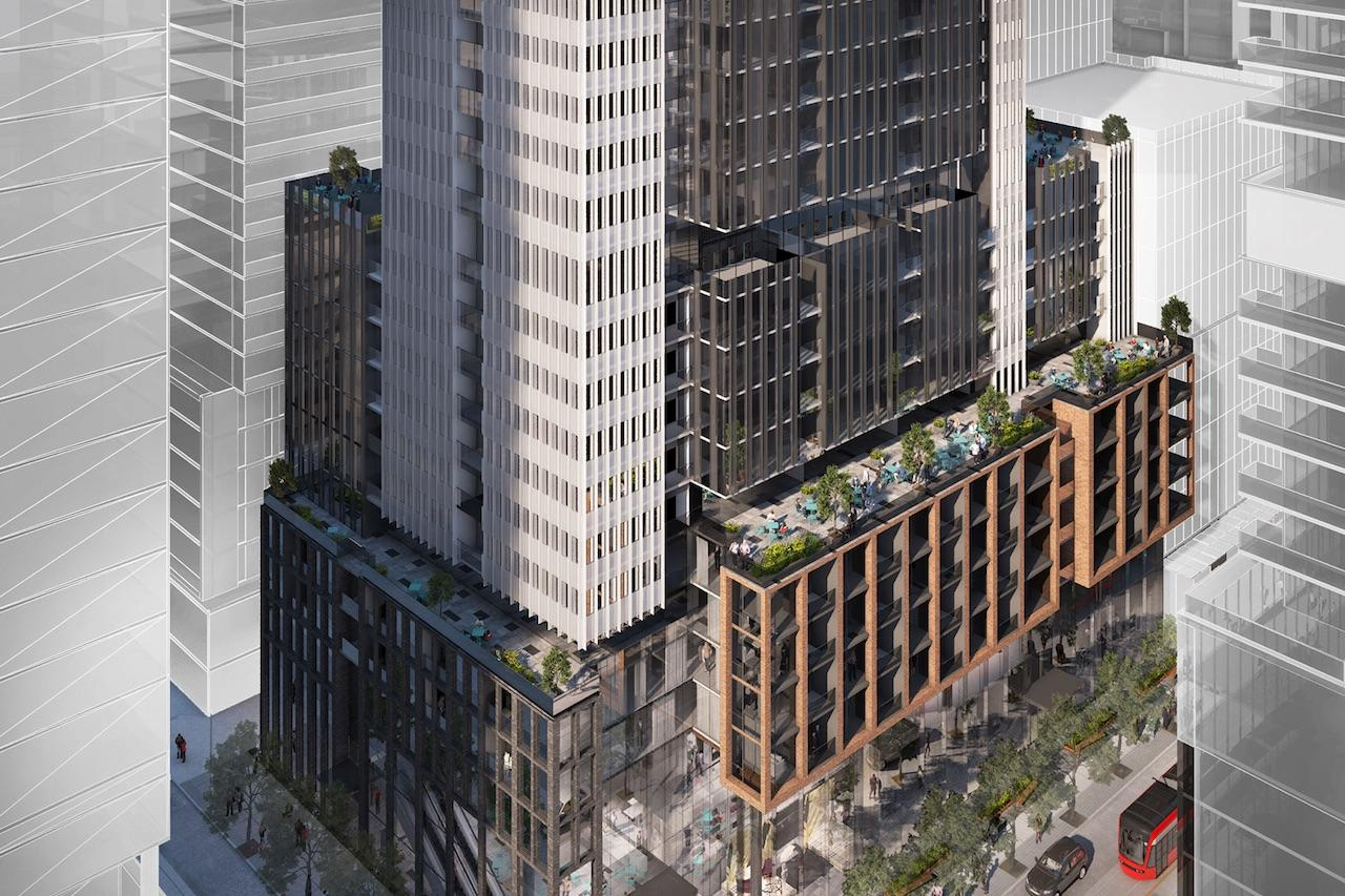 Rendering of 400 King West Condos exterior aerial lower building view