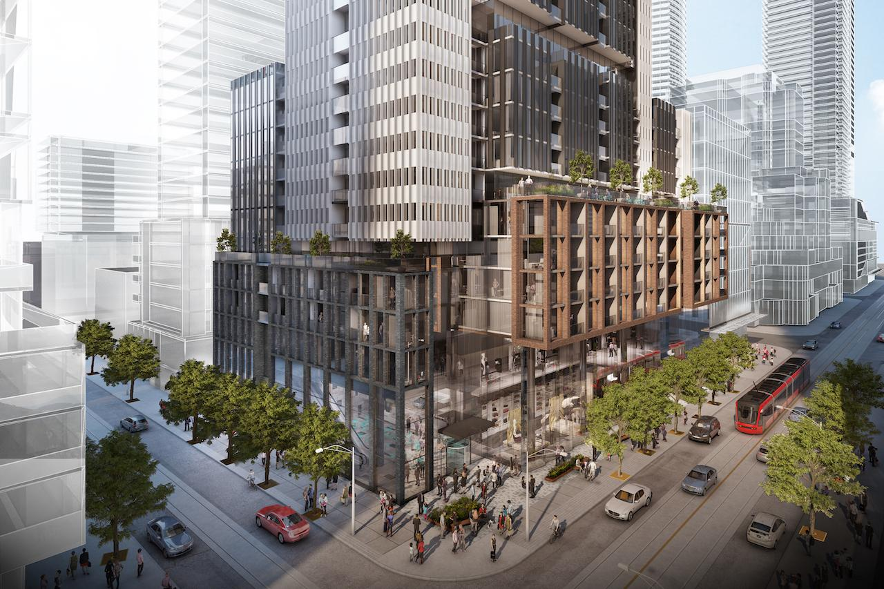 Rendering of 400 King West Condos exterior and streetscape in Toronto