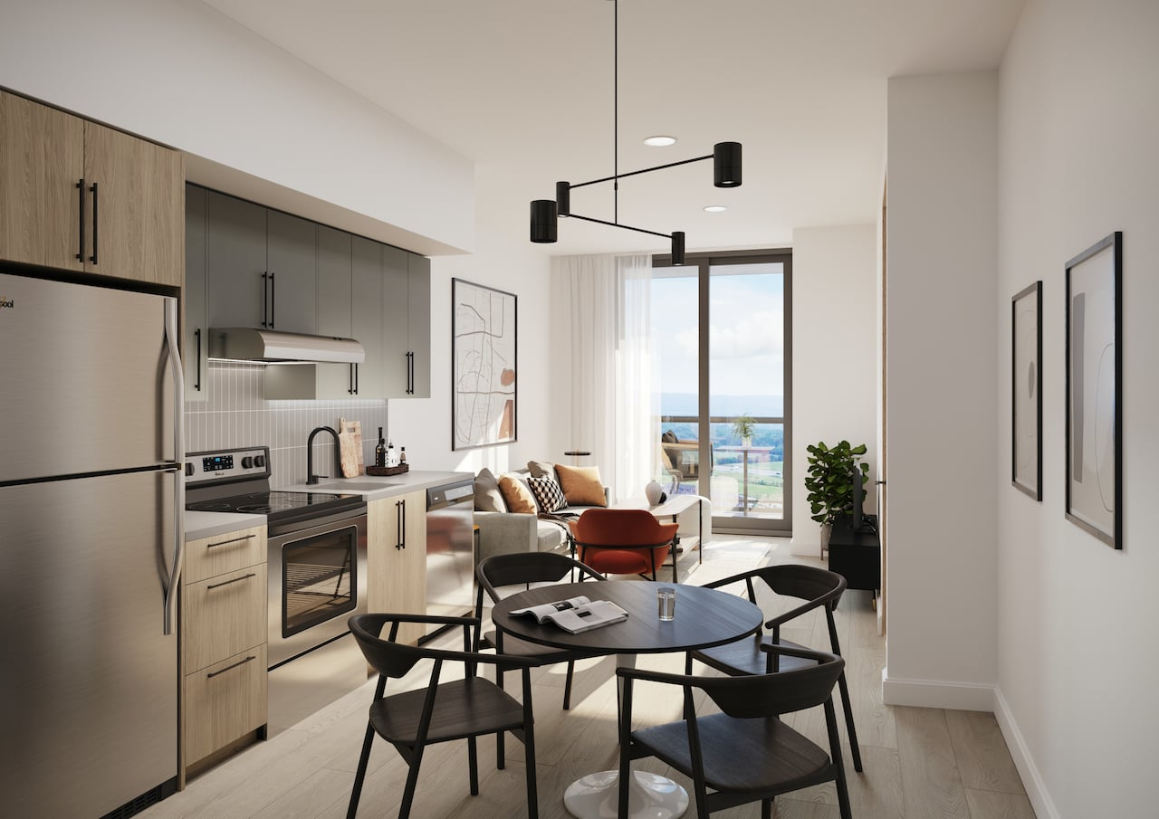 Rendering of Realm Condos suite kitchen