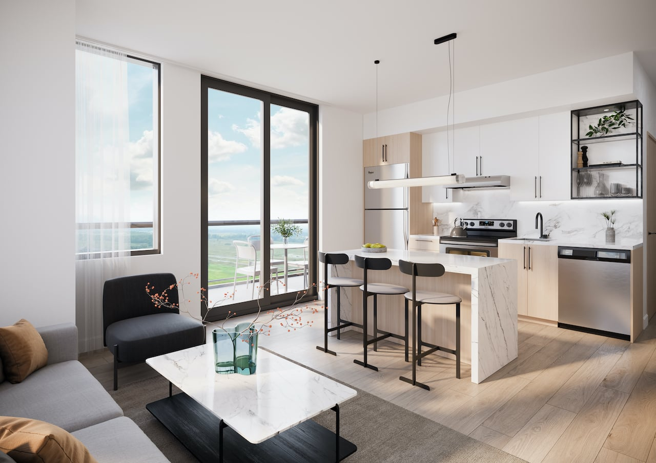 Rendering of Realm Condos suite interior kitchen