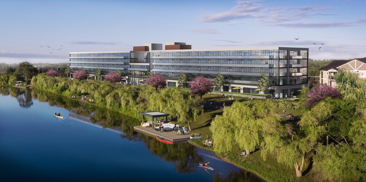Rendering of Upper Vista Welland exterior on canal