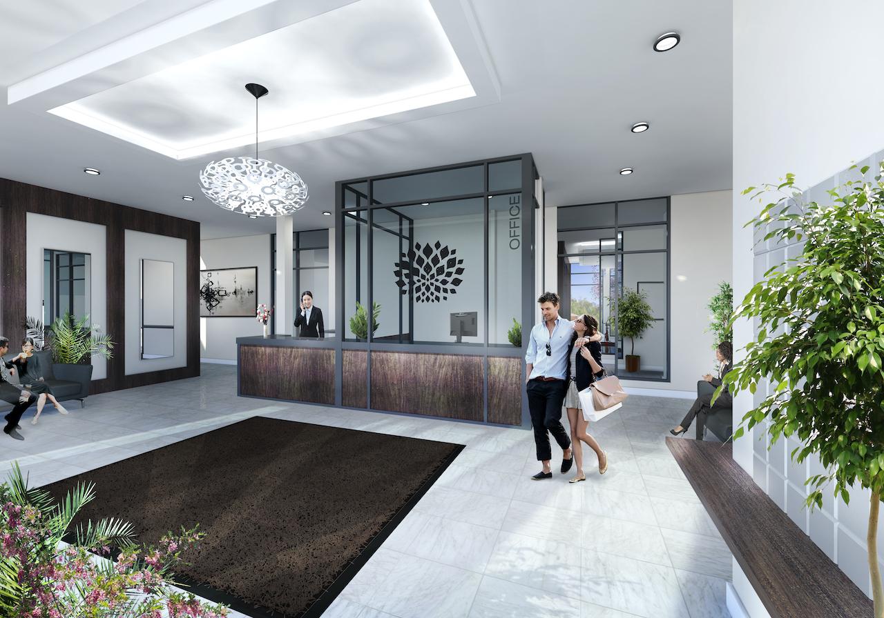 Rendering of Upper Vista Welland condos lobby with concierge