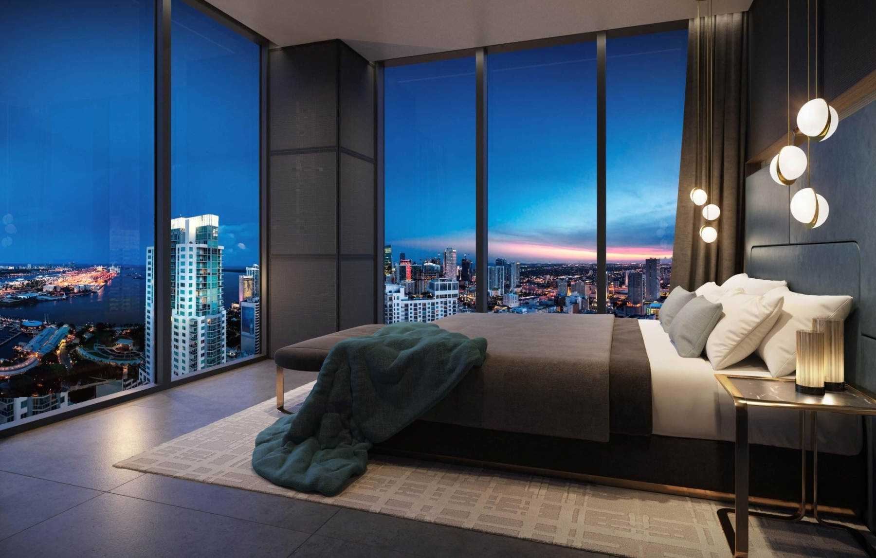 Rendering of E11even Hotel and Residences suite interior bedroom