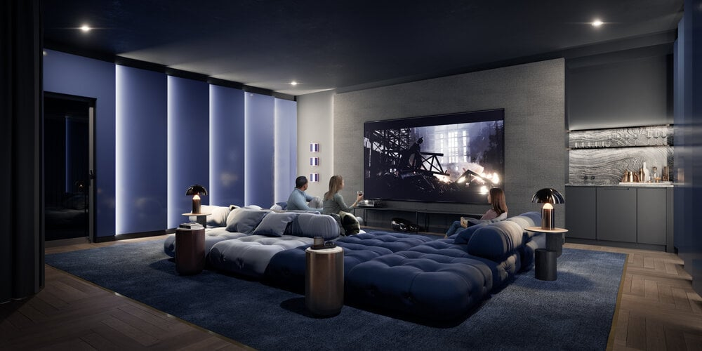 Rendering of Oscar Residences theatre lounge