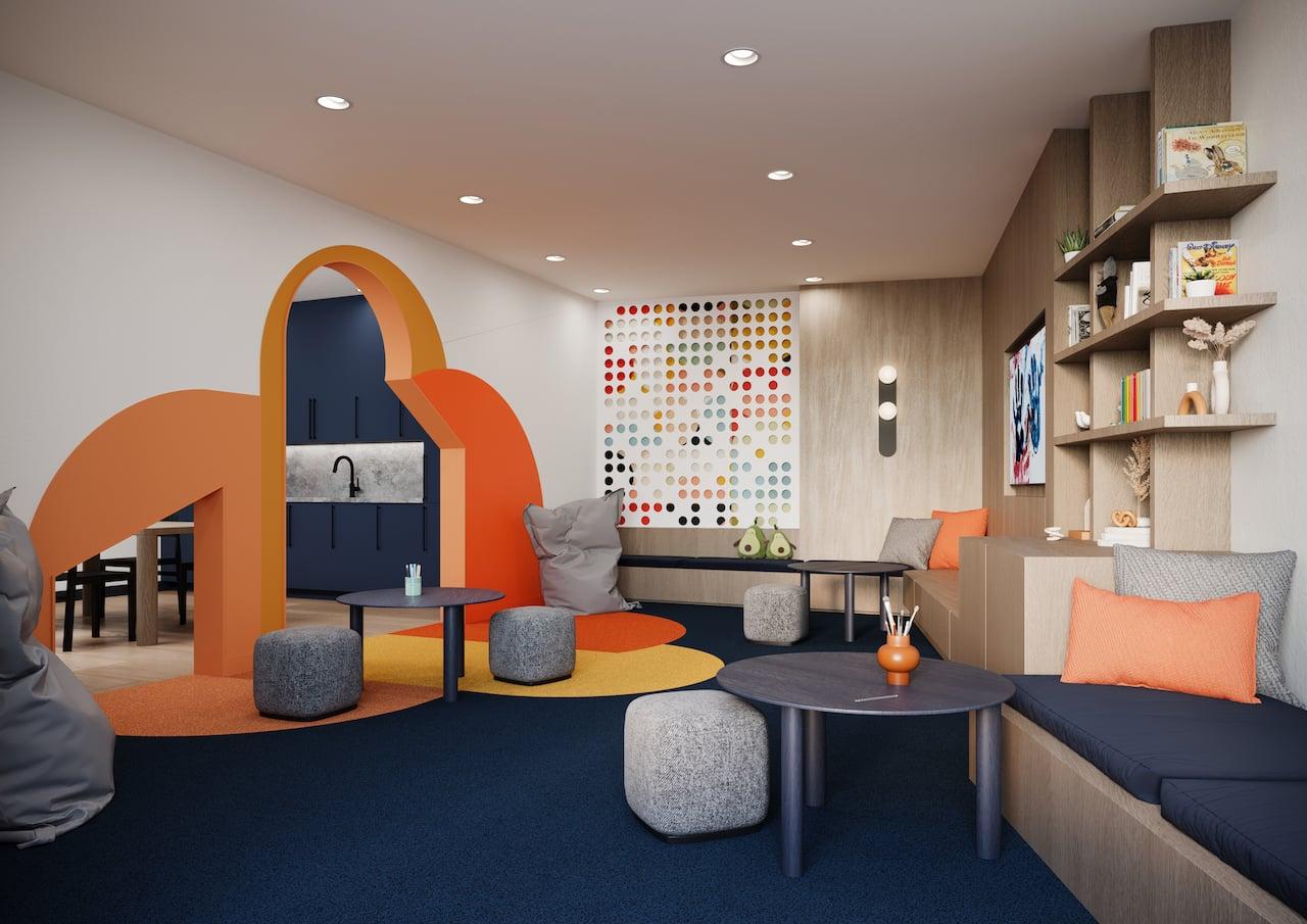 Rendering of Realm Condos kids playroom