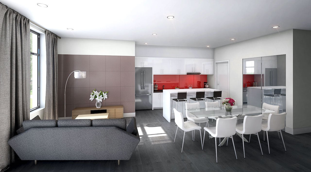 Rendering of 9560 Islington Urban Towns interior living room