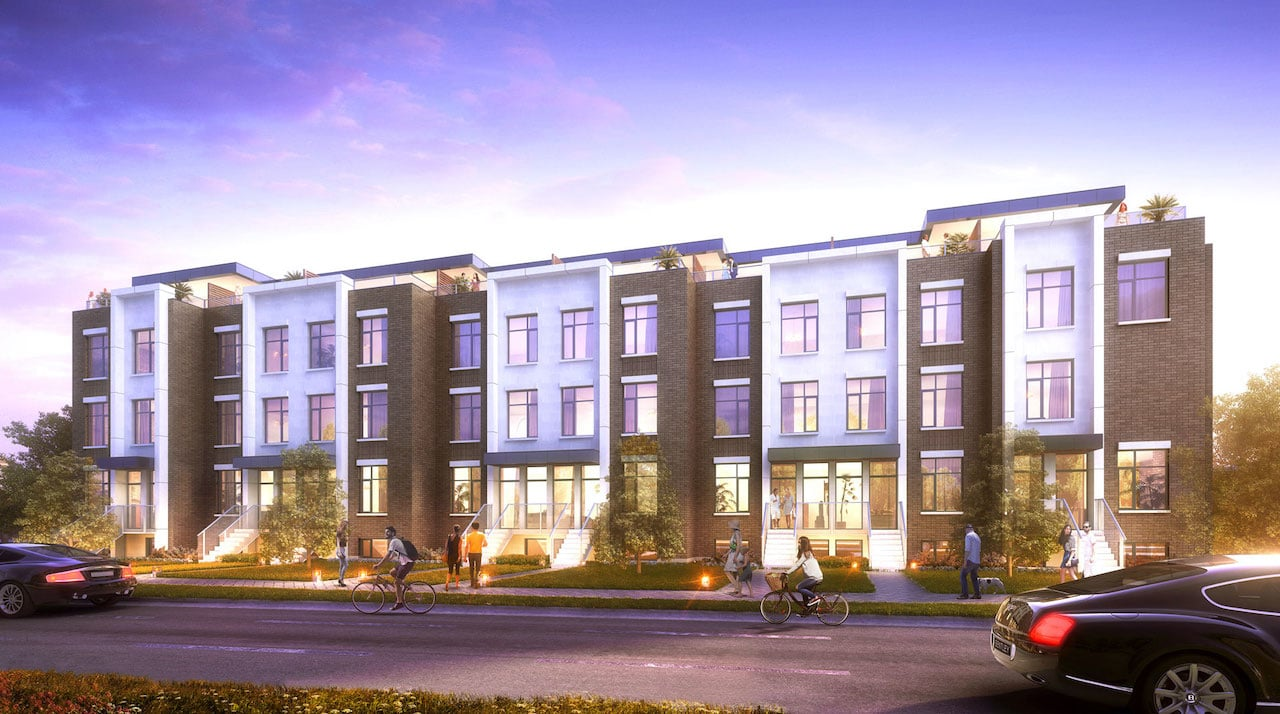 Rendering of 9560 Islington Urban Towns exterior at dusk