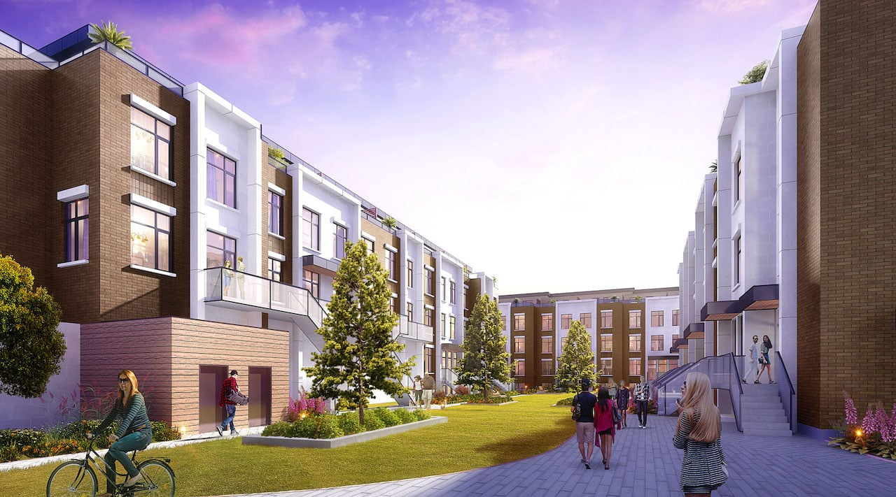 Rendering of 9560 Islington Urban Towns courtyard evening