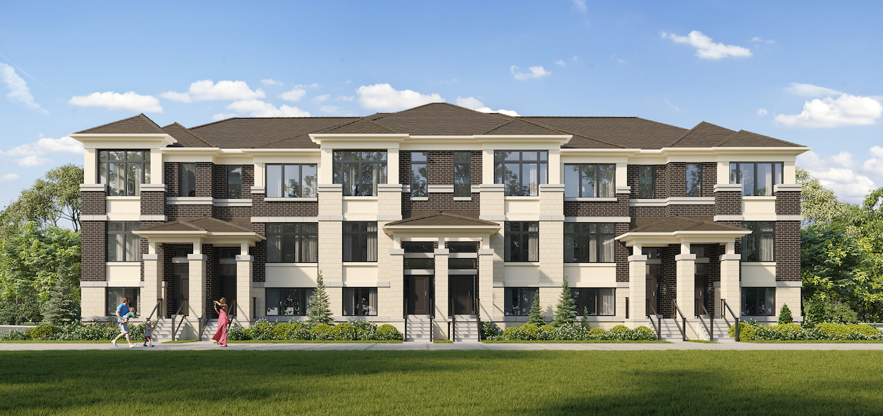 Rendering of Ivylea towns exterior elevation B rear lane