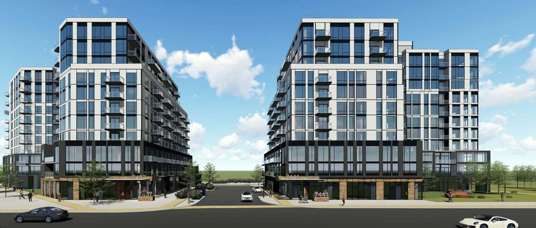 Exterior rendering of 7437 Kingston Road Condos in Toronto