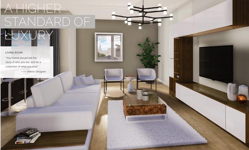 Rendering of Victoria Garden suite interior living room