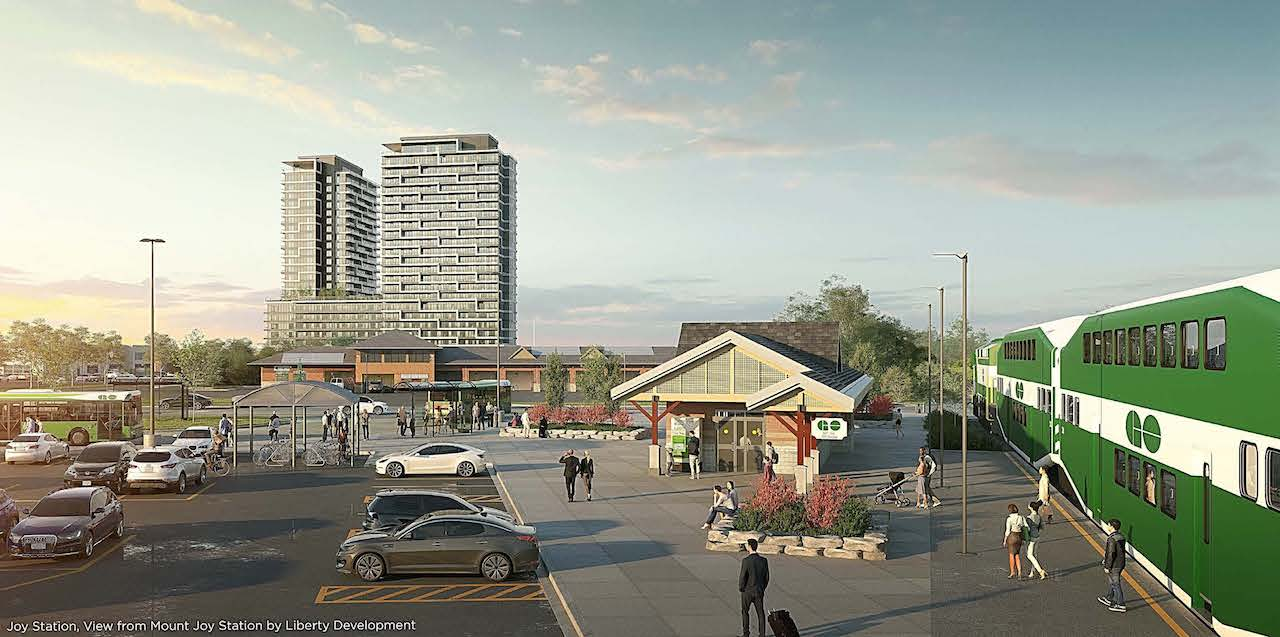 Rendering of Joy Station Condos with direct access to Go Transit Trains