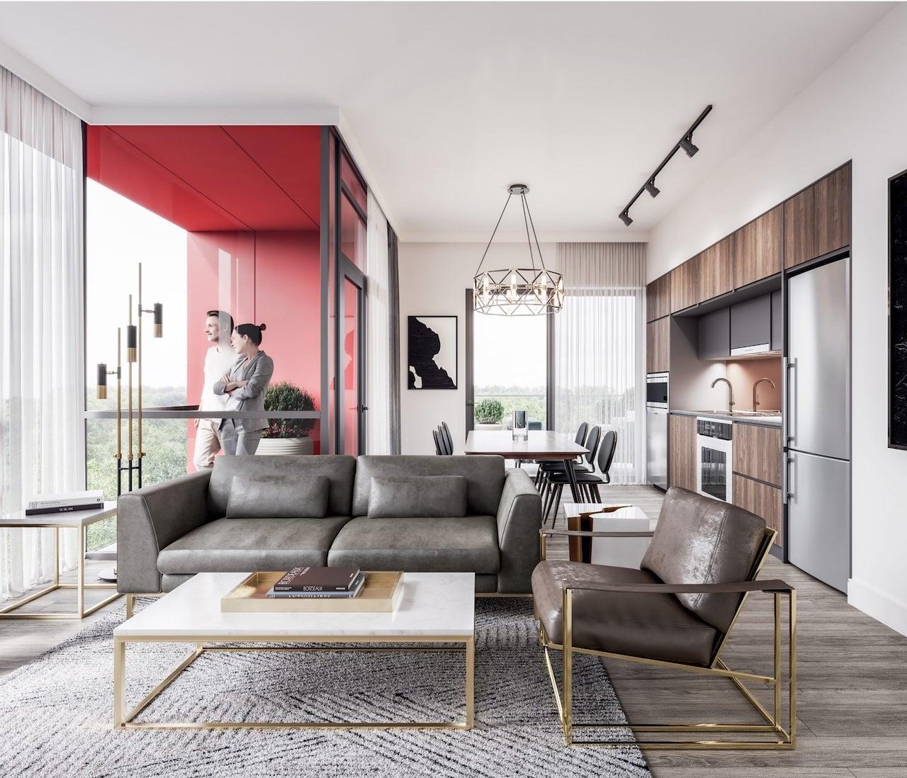 Rendering of Mondria Condos suite living room