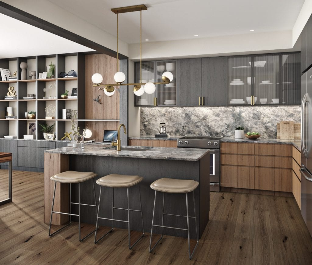 Rendering of West&Post towns interior kitchen